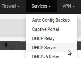 menu service DHCP pfSense