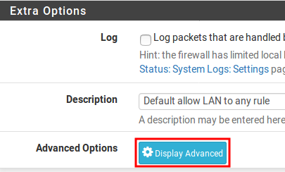 Display Advanced pfSense