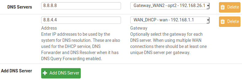 configuration DNS servers pfSense