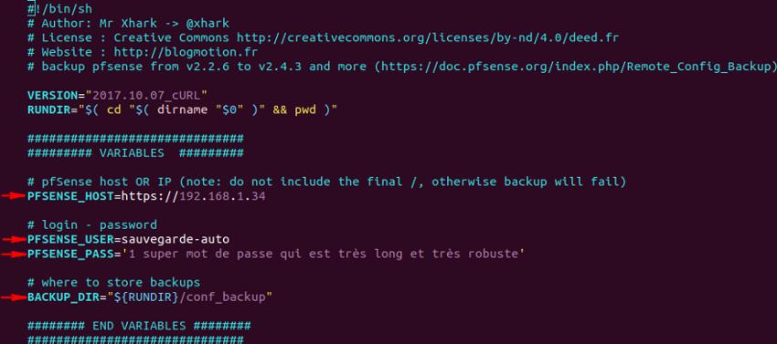 Configuration du script pfMotion-backup - pfSense - Provya