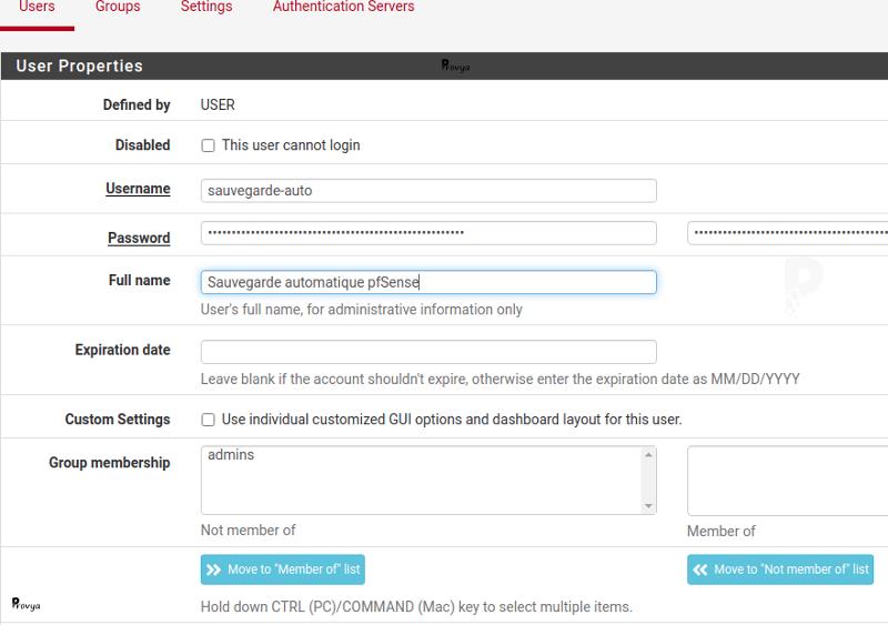Création d'un utilisateur pour la sauvegarde - pfSense - Provya