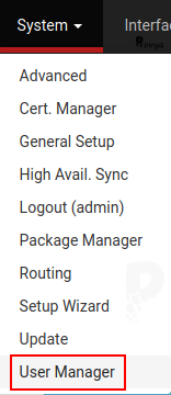 Menu System > User Manager - pfSense - Provya
