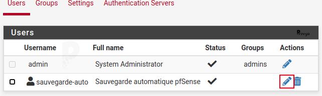 Modification d'un utilisateur pour la sauvegarde - pfSense - Provya