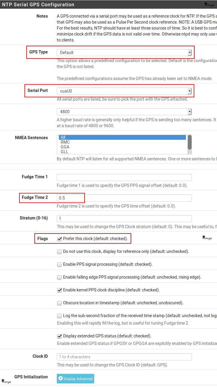 Configuration GPS service NTP pfSense - Provya