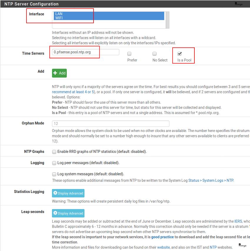 Configuration service NTP pfSense - Provya