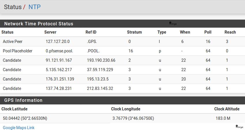 Status GPS service NTP pfSense - Provya