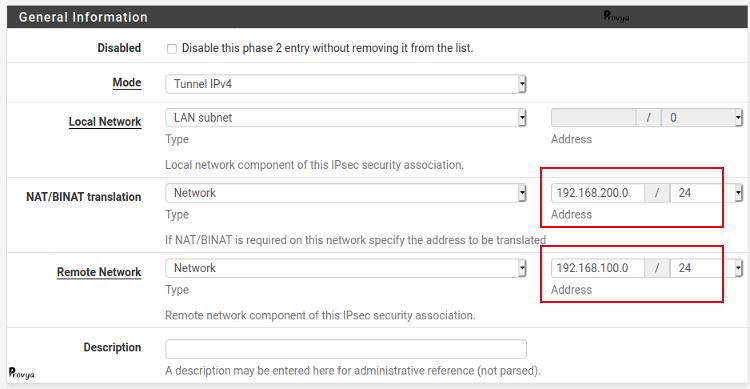 Exemple de configuration d'une phase 2 nattée du VPN IPsec - pfSense - Provya