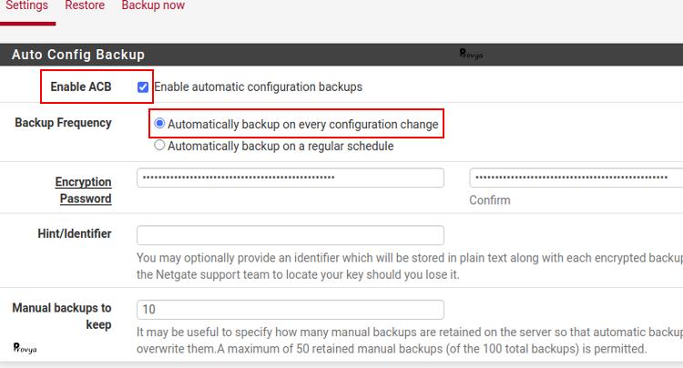 Exemple configuration AutoConfigBackup à chaque changement - pfSense - Provya