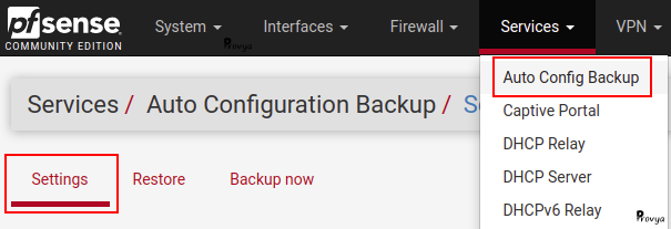 Menu Services > Auto Config Backup - pfSense - Provya