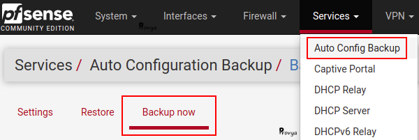 Menu Sevices > Auto Config Backup - Backup Now - pfSense - Provya