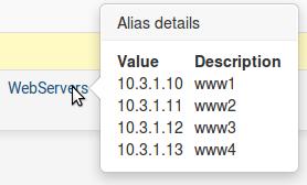 Visualisation des alias dans les règles de filtrage sous pfSense - Provya