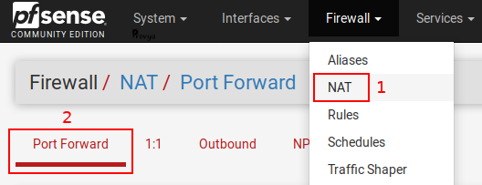 Menu Firewall > NAT - Port Forward - pfSense - Provya