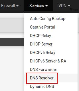 Menu Services > DNS Resolver sous pfSense - Provya