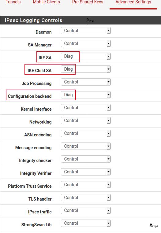 Configuration des logs pour debug VPN IPsec sous pfSense - Provya