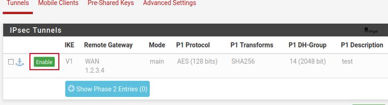 État phase 1 VPN IPsec pfSense - Provya
