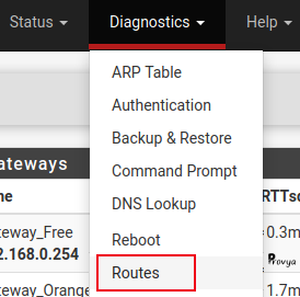 Menu Diagnostics > Routes - pfSense - Provya