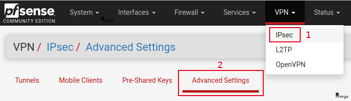 menu VPN > IPsec > Advanced - pfSense - Provya