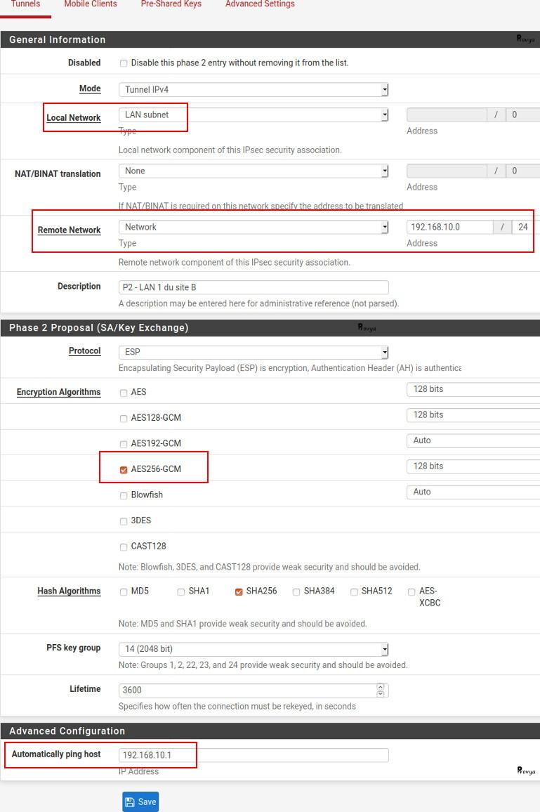 Exemple configuration VPN IPsec - Phase 1 - pfSense - Provya