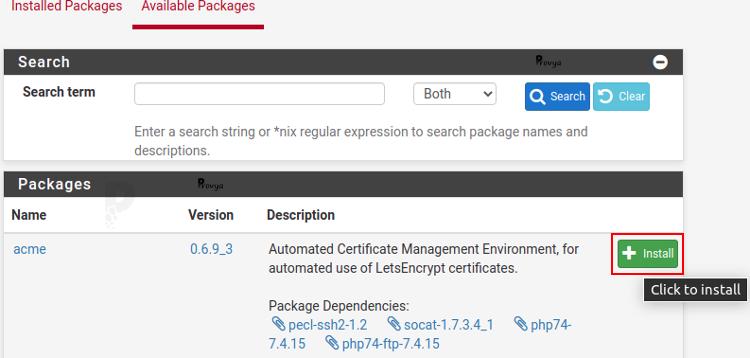 Installer un paquet - pfSense - Provya