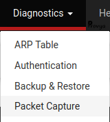 Menu Diagnostics > Packet Capture pfSense - Provya