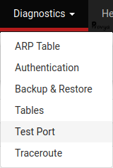 Menu Diagnostics > Test Port - pfSense - Provya