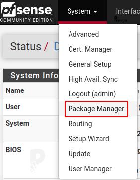 Menu System > Package Manager - pfSense - Provya
