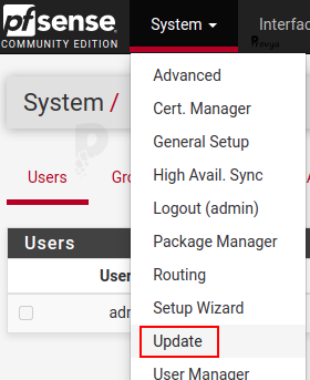 Menu System > Update - pfSense - Provya