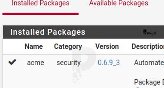 Icône d'un package à jour sous pfSense - Provya
