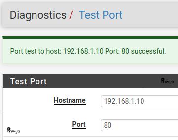 Test connexion TCP avec succès - pfSense - Provya