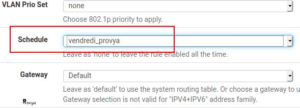 Affectation d'un calendrier au filtrage - pfSense - Provya