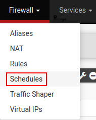 menu Firewall > Schedules - pfSense - Provya