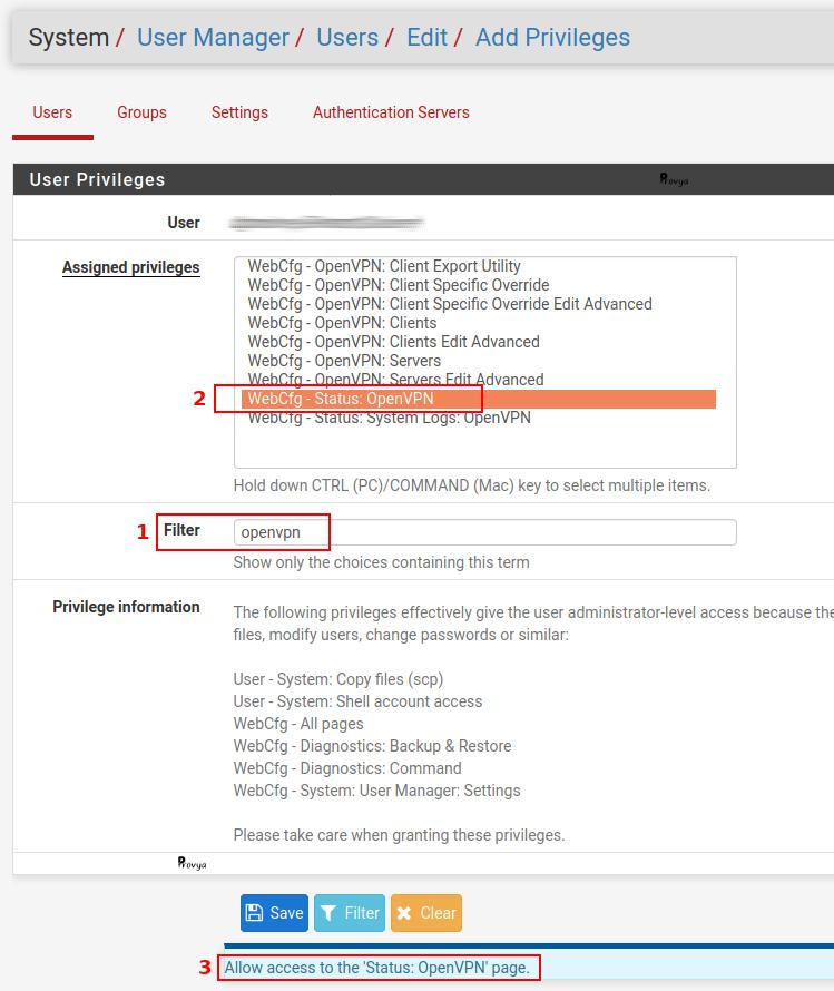 Exemple de recherche sur la gestion des droits utilisateur sous pfSense - Provya