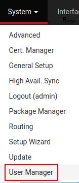 menu System > User Manager sous pfSense - Provya