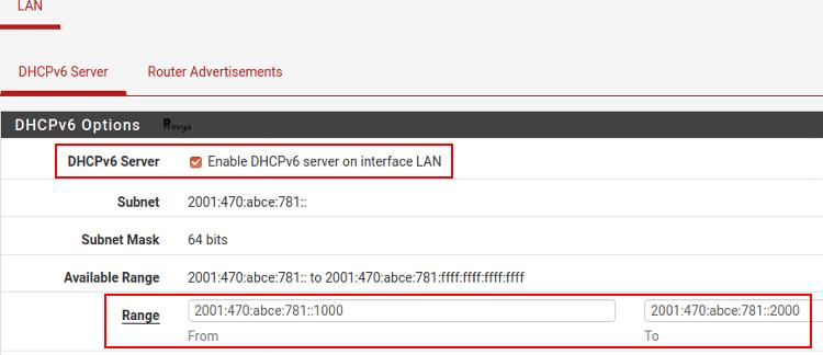 Configurer DHCPv6 pour l'interface LAN - pfSense - Provya