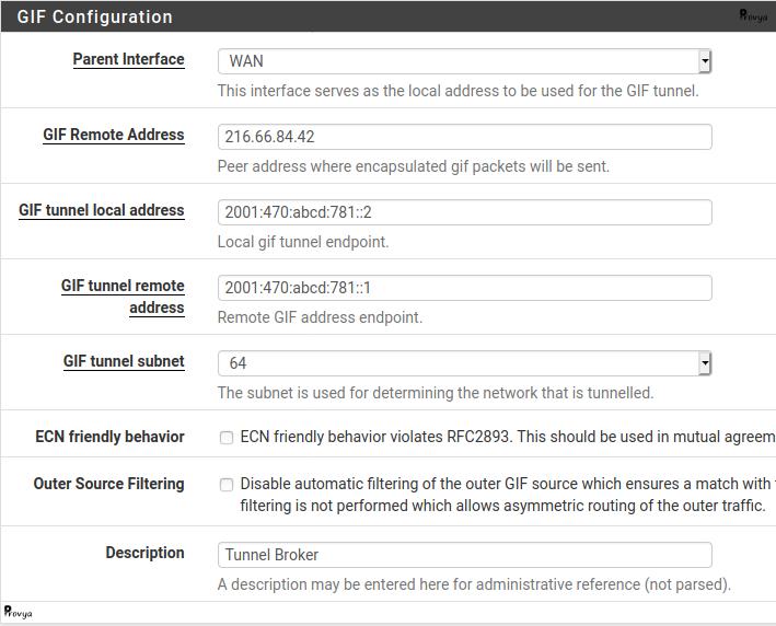 Configuration d'une interface GIF pour IPv6 sur pfSense - Provya