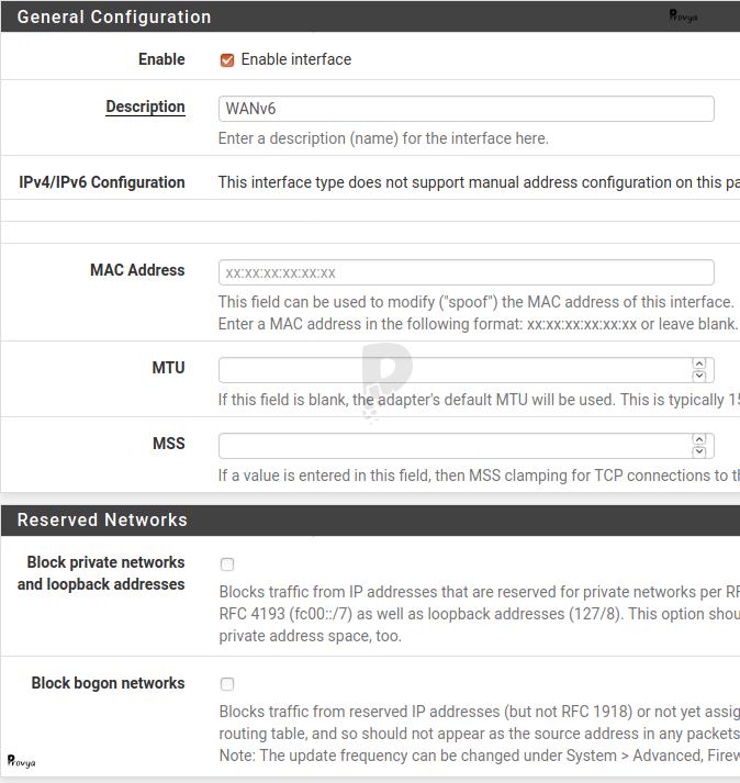 Configuration d'une interface IPv6 sur pfSense - Provya