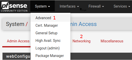 Menu System > Advanced > Networking - pfSense - Provya