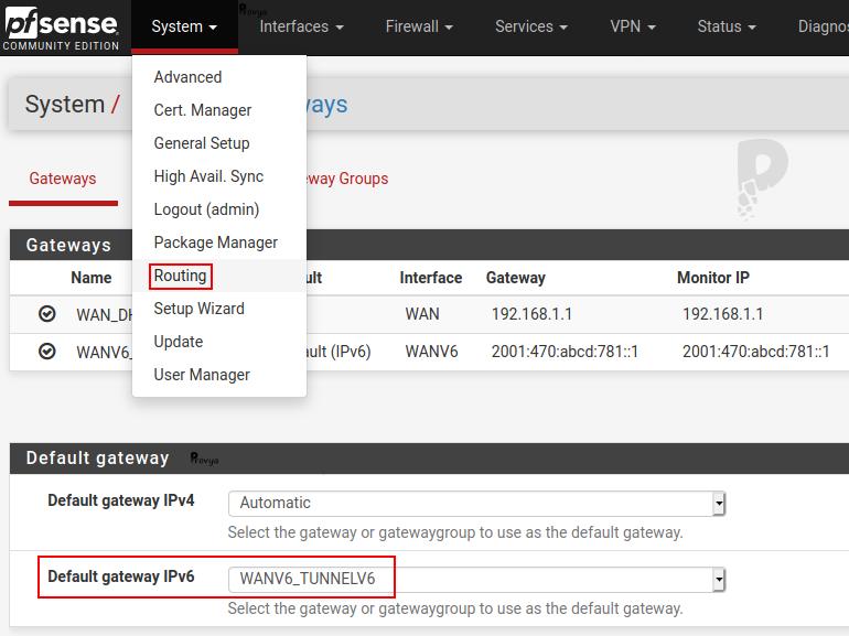 Configurer passerelle par défaut - pfSense - Provya