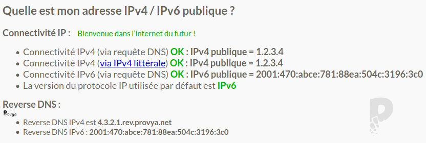 Tester sa connexion IPv6 sur lafibre.info - Provya